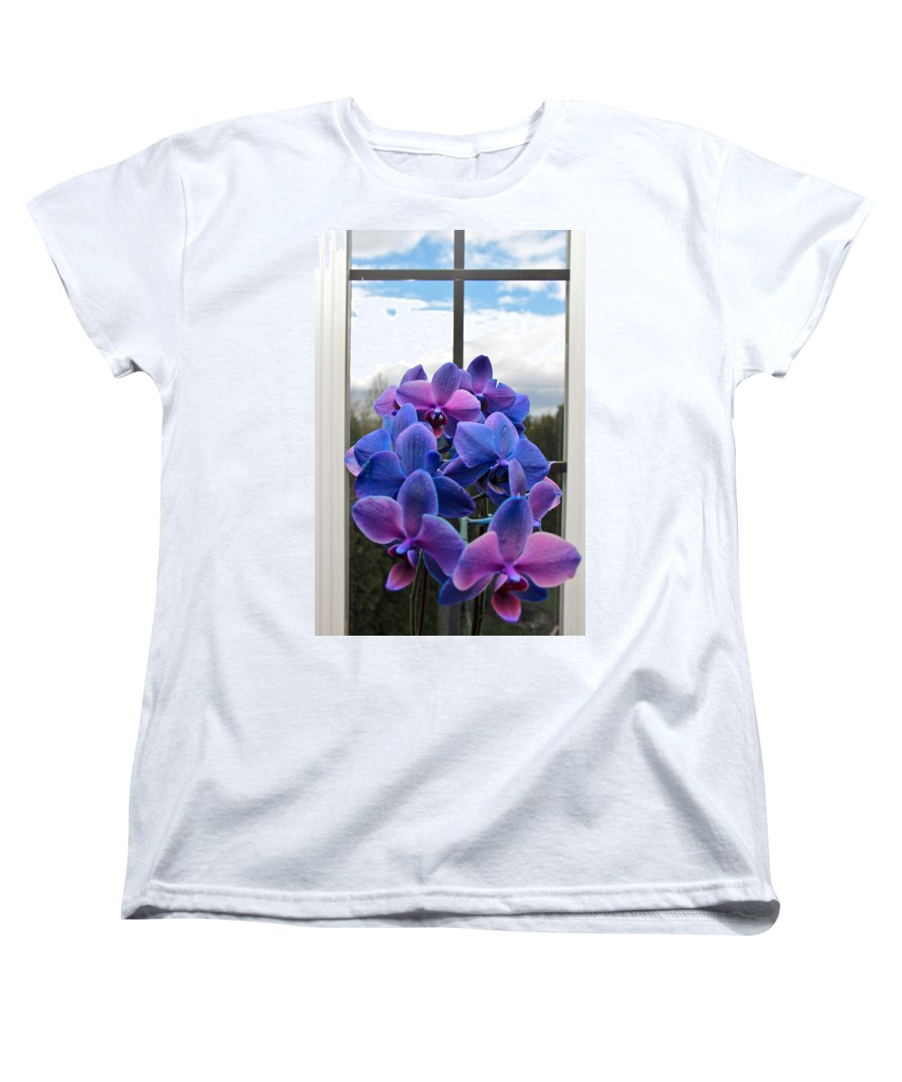 Orchids Women's T-Shirt (Standard Cut) featuring the photograph Black Sapphire Orchids by Aaron Berg