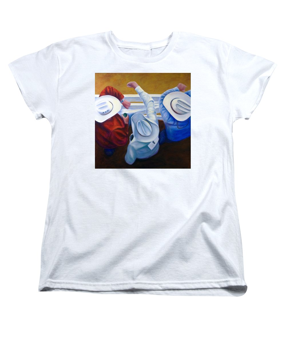 Western Women's T-Shirt (Standard Cut) featuring the painting Bull Chute by Shannon Grissom
