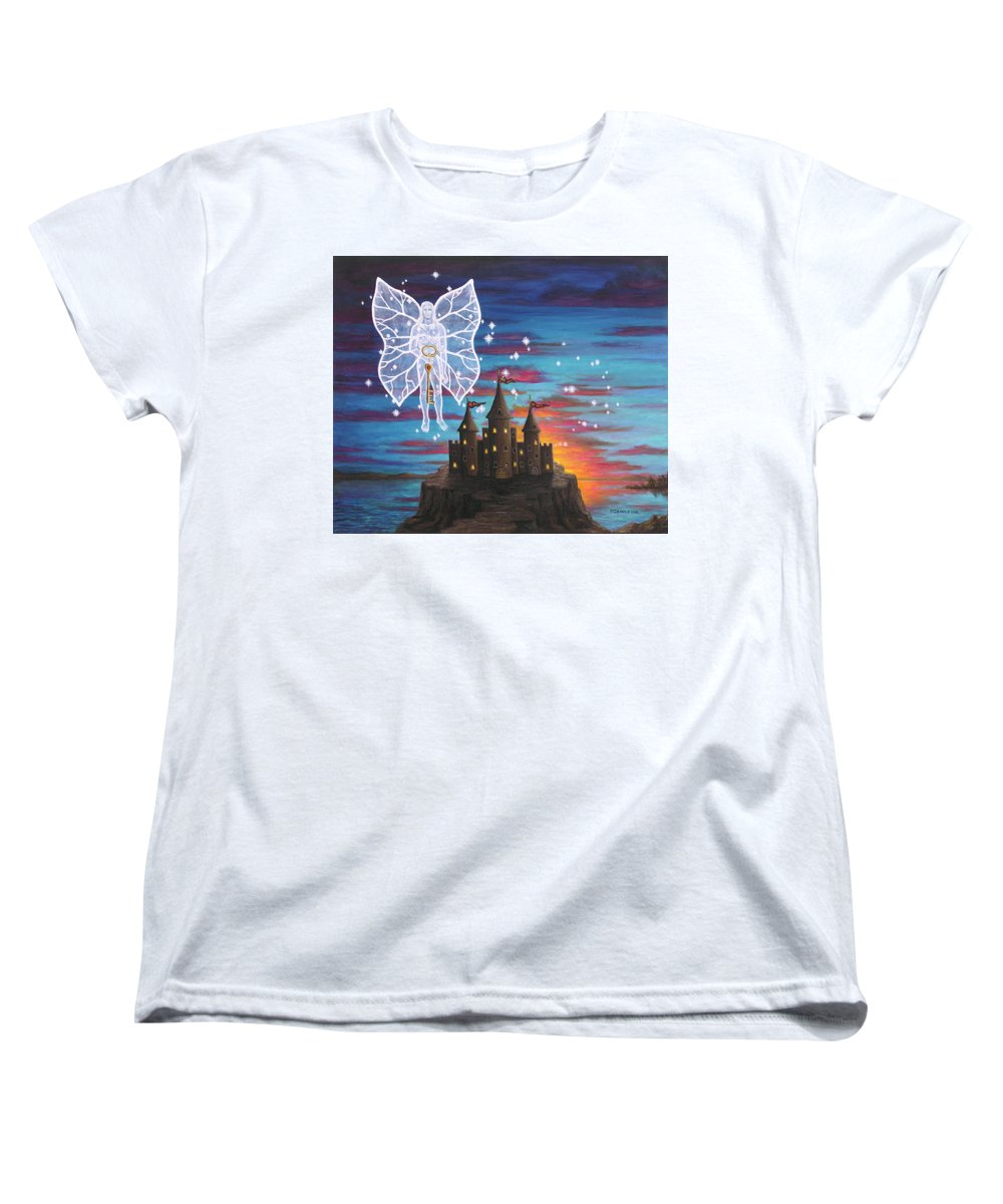 Fantasy Women's T-Shirt (Standard Cut) featuring the painting Fairy Takes The Key by Roz Eve