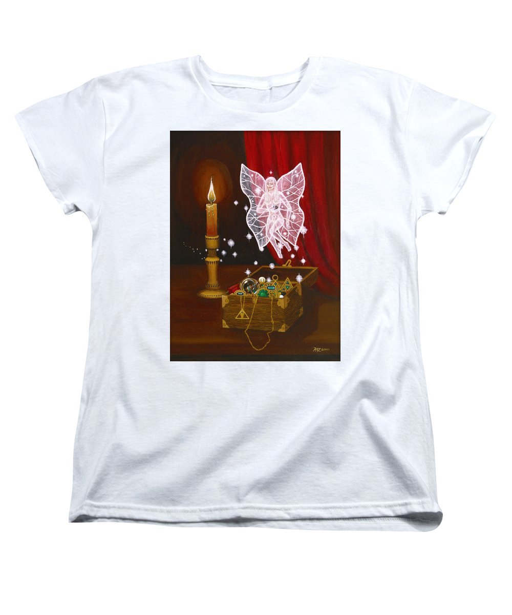 Fairy Women's T-Shirt (Standard Cut) featuring the painting Fairy Treasure by Roz Eve