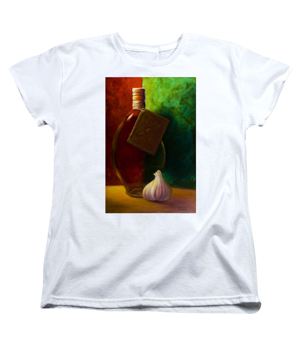 Shannon Grissom Women's T-Shirt (Standard Cut) featuring the painting Garlic And Oil by Shannon Grissom