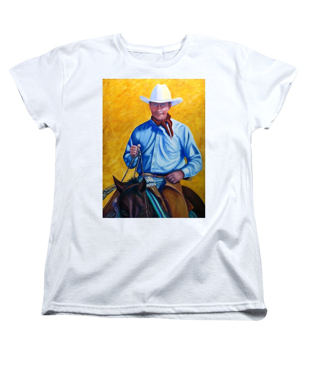 Cowboy Women's T-Shirt (Standard Cut) featuring the painting Happy Trails by Shannon Grissom