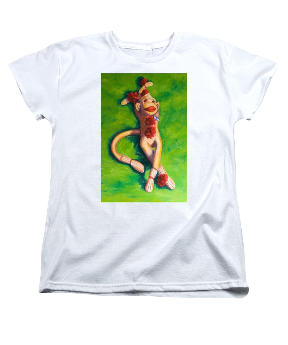 Sock Monkey Women's T-Shirt (Standard Cut) featuring the painting Life Is Good by Shannon Grissom