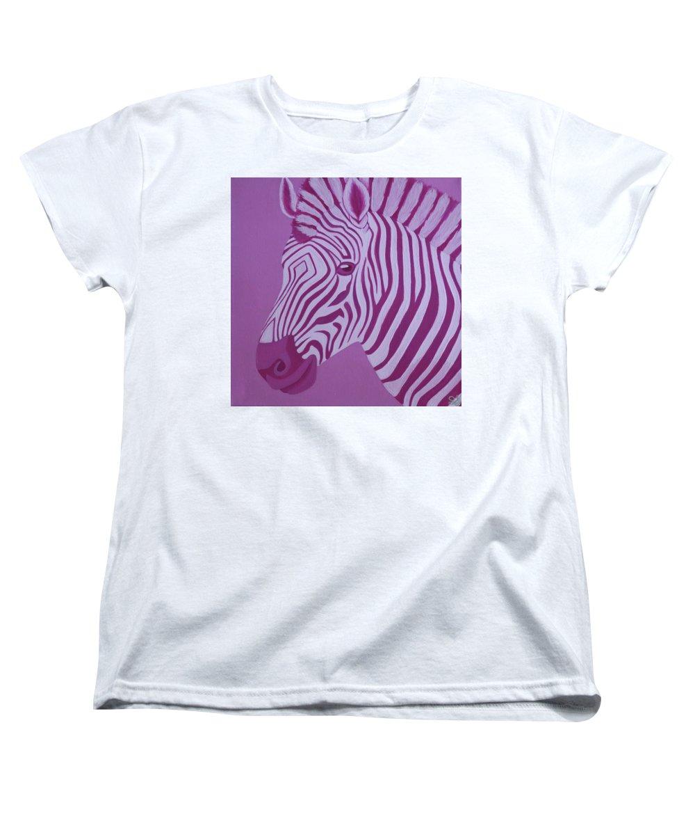 Magenta Zebra Womens T-Shirt