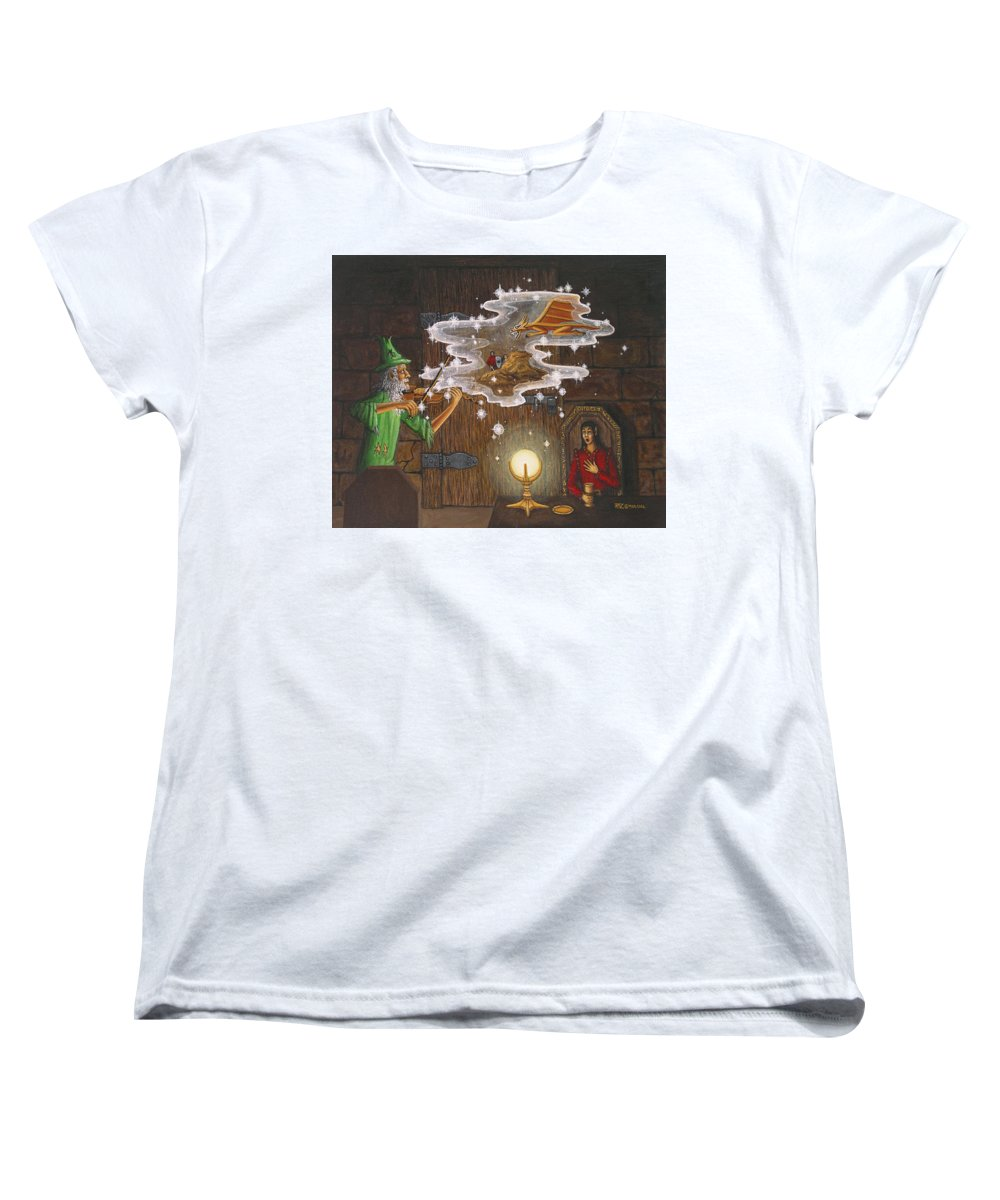 Fantasy Women's T-Shirt (Standard Cut) featuring the painting Magic Violin by Roz Eve