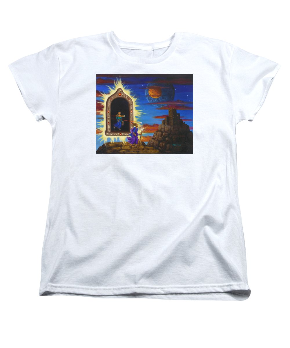 Fantasy Women's T-Shirt (Standard Cut) featuring the painting Narrow Escape by Roz Eve