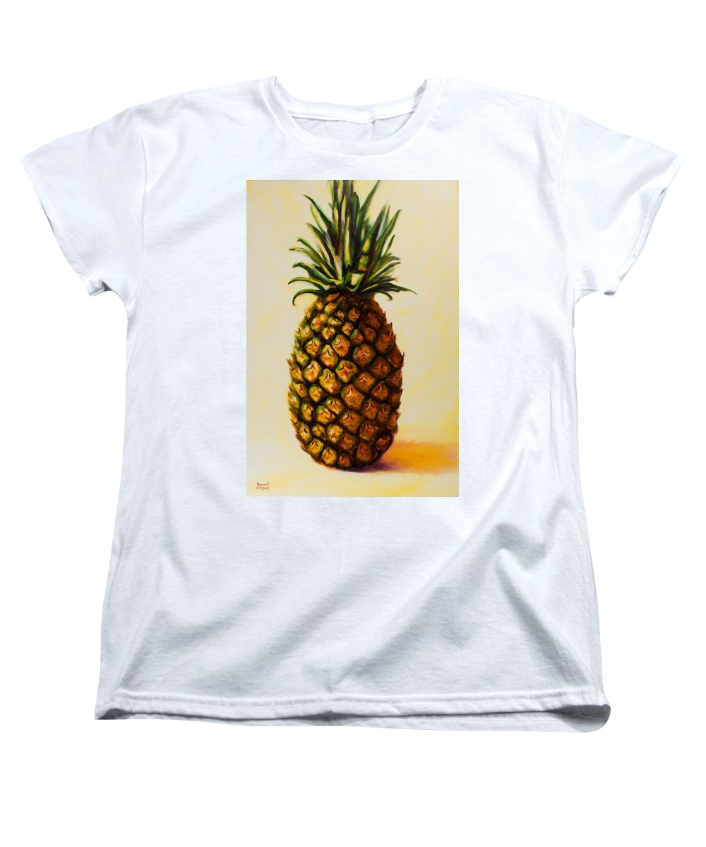 Pineapple Women's T-Shirt (Standard Cut) featuring the painting Pineapple Angel by Shannon Grissom