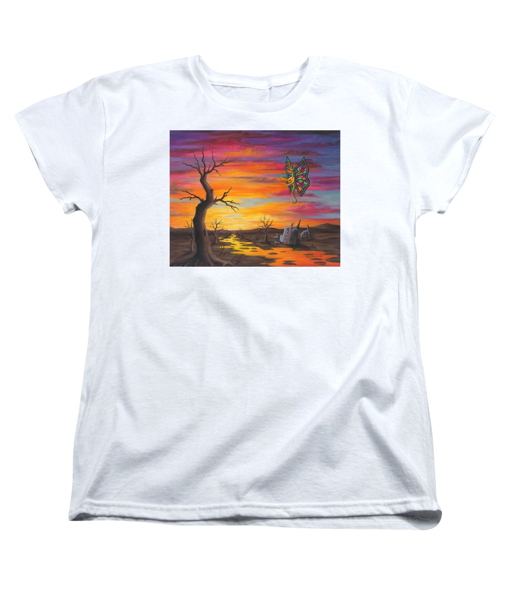 Fantasy Women's T-Shirt (Standard Cut) featuring the painting Planet Px7 by Roz Eve