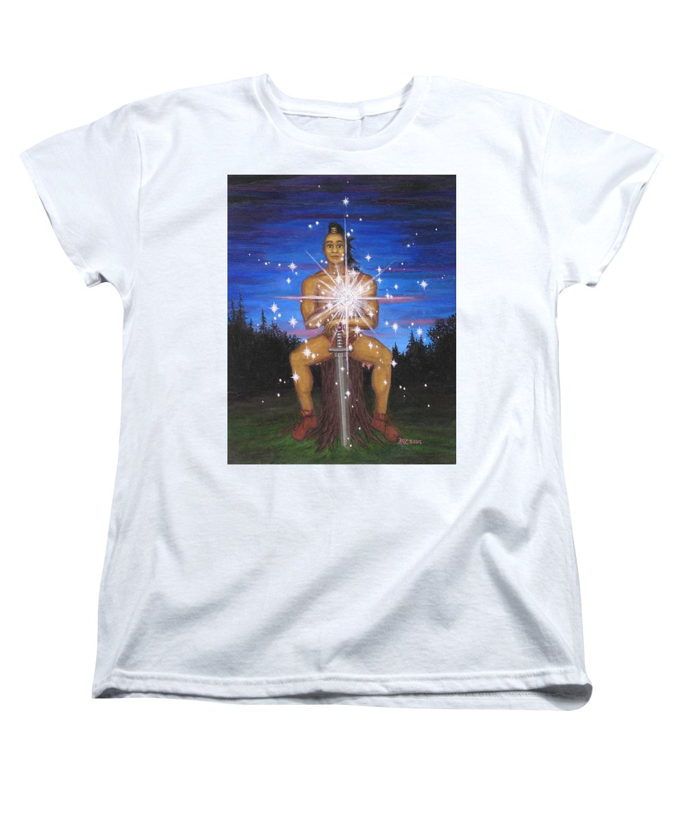 Fantasy Women's T-Shirt (Standard Cut) featuring the painting Protector Of The Mystical Forest by Roz Eve