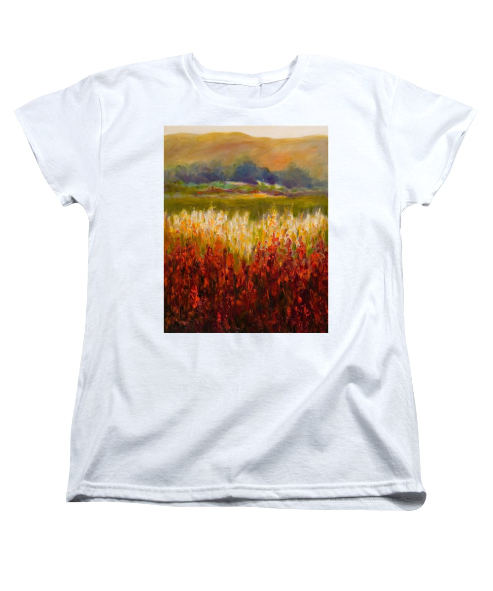 Landscape Women's T-Shirt (Standard Cut) featuring the painting Santa Rosa Valley by Shannon Grissom