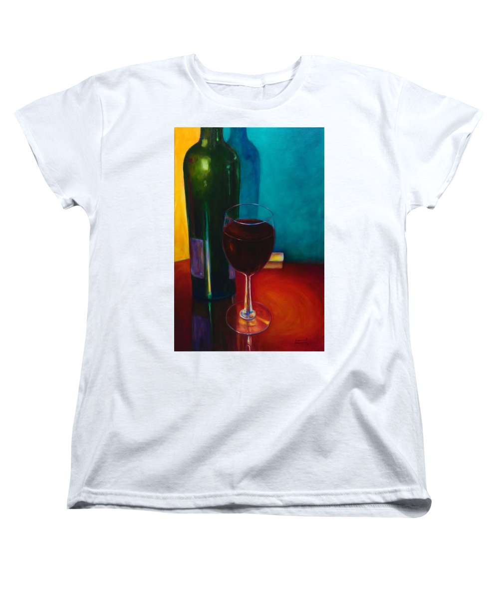 Wine Bottle Women's T-Shirt (Standard Cut) featuring the painting Shannon's Red by Shannon Grissom
