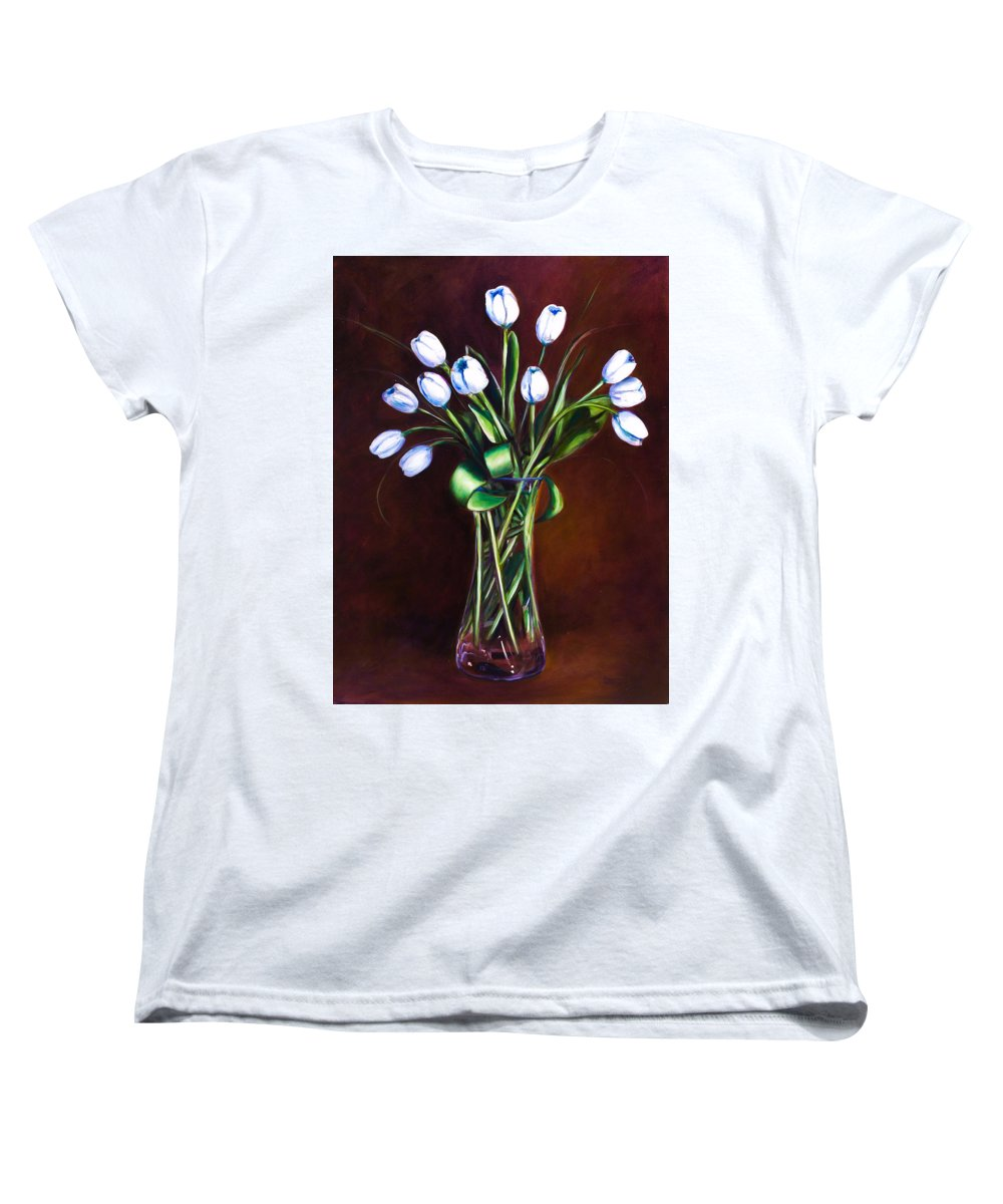 Shannon Grissom Women's T-Shirt (Standard Cut) featuring the painting Simply Tulips by Shannon Grissom