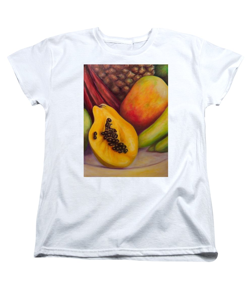 Tropical Fruit Still Life: Mangoes Women's T-Shirt (Standard Cut) featuring the painting Solo by Shannon Grissom
