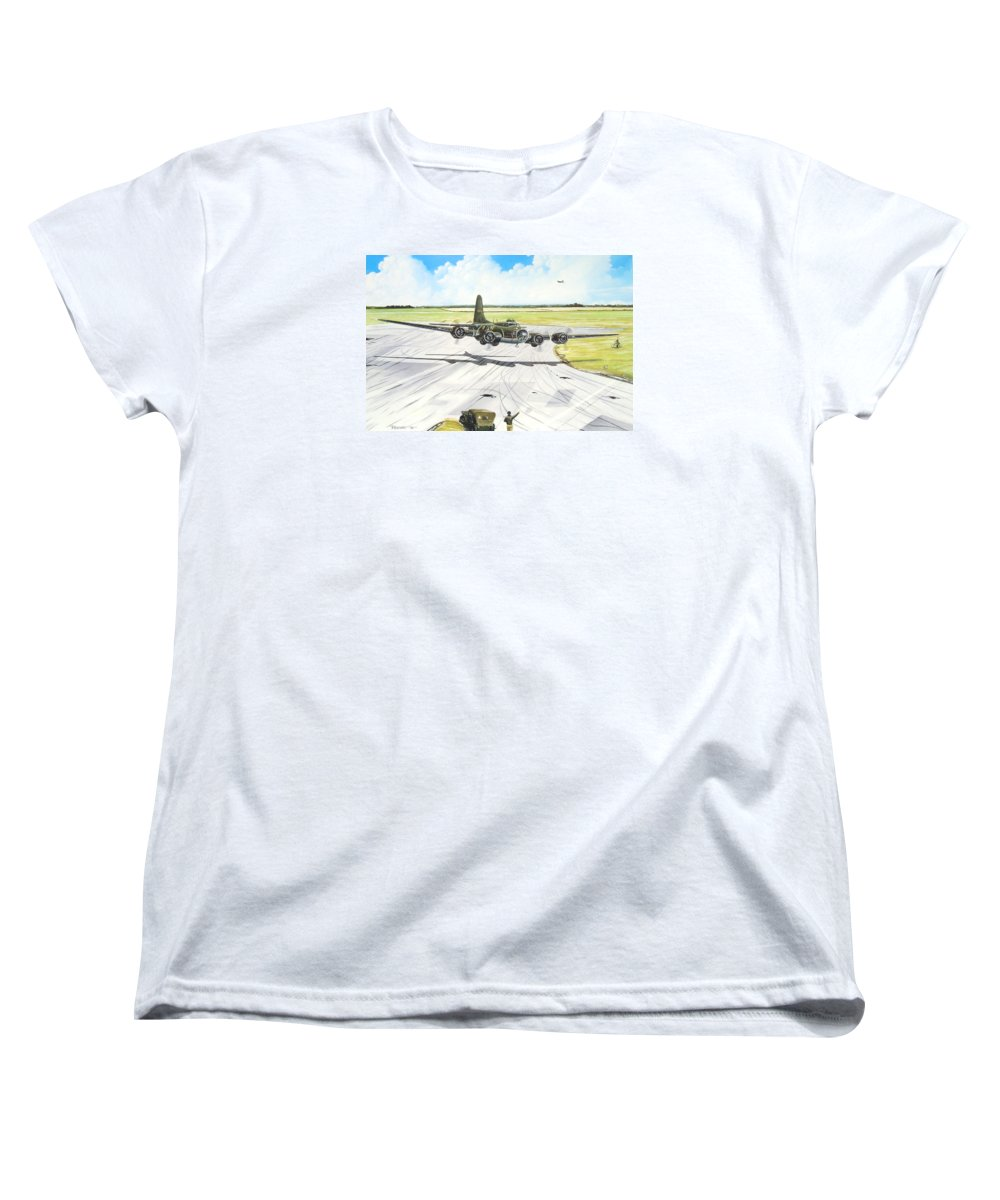 Military Women's T-Shirt (Standard Cut) featuring the painting The Memphis Belle by Marc Stewart