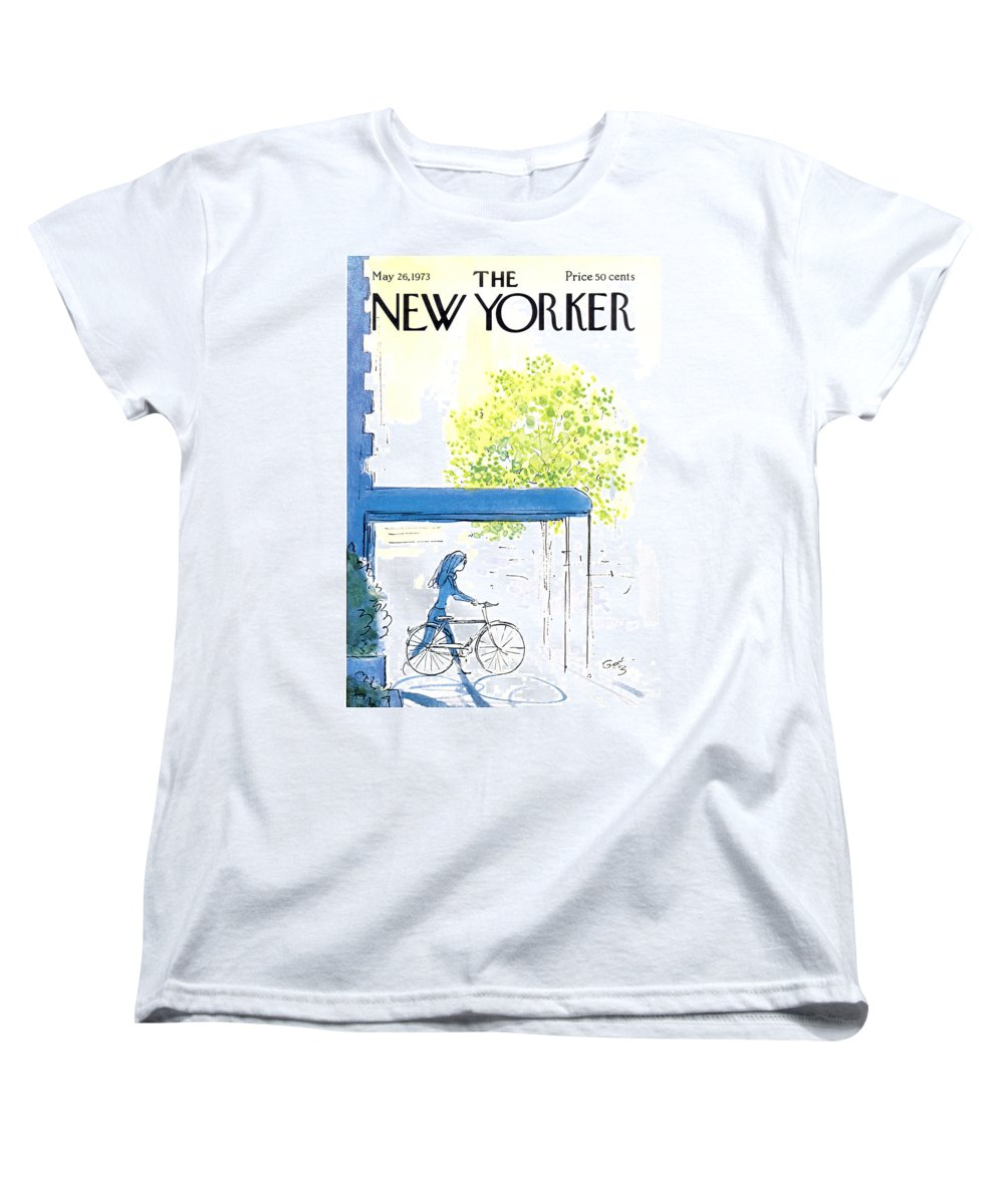 Bicycle Women's T-Shirt (Standard Fit) featuring the painting The New Yorker Cover - May 26th, 1973 by Arthur Getz