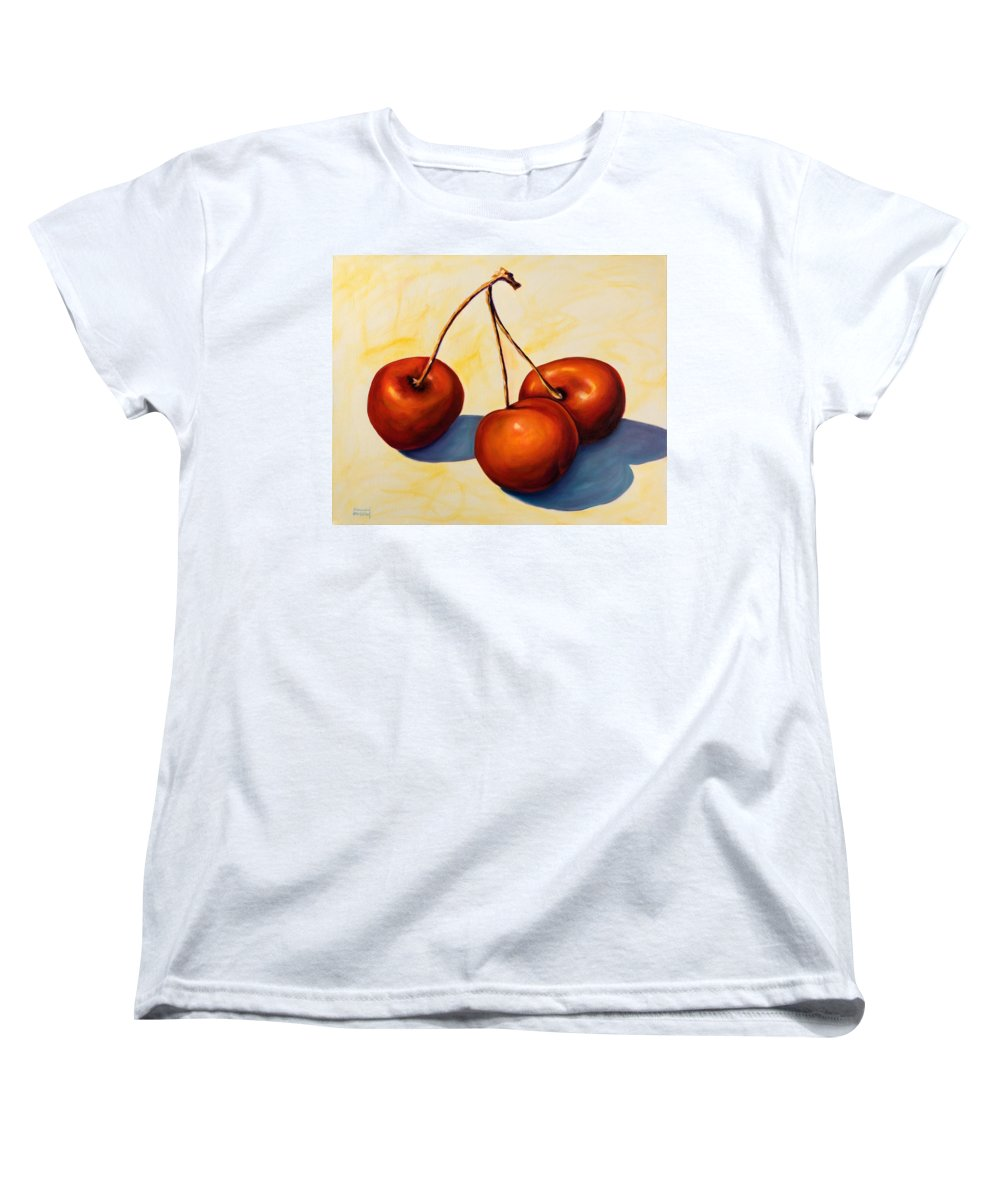 Cherries Women's T-Shirt (Standard Cut) featuring the painting Trilogy by Shannon Grissom