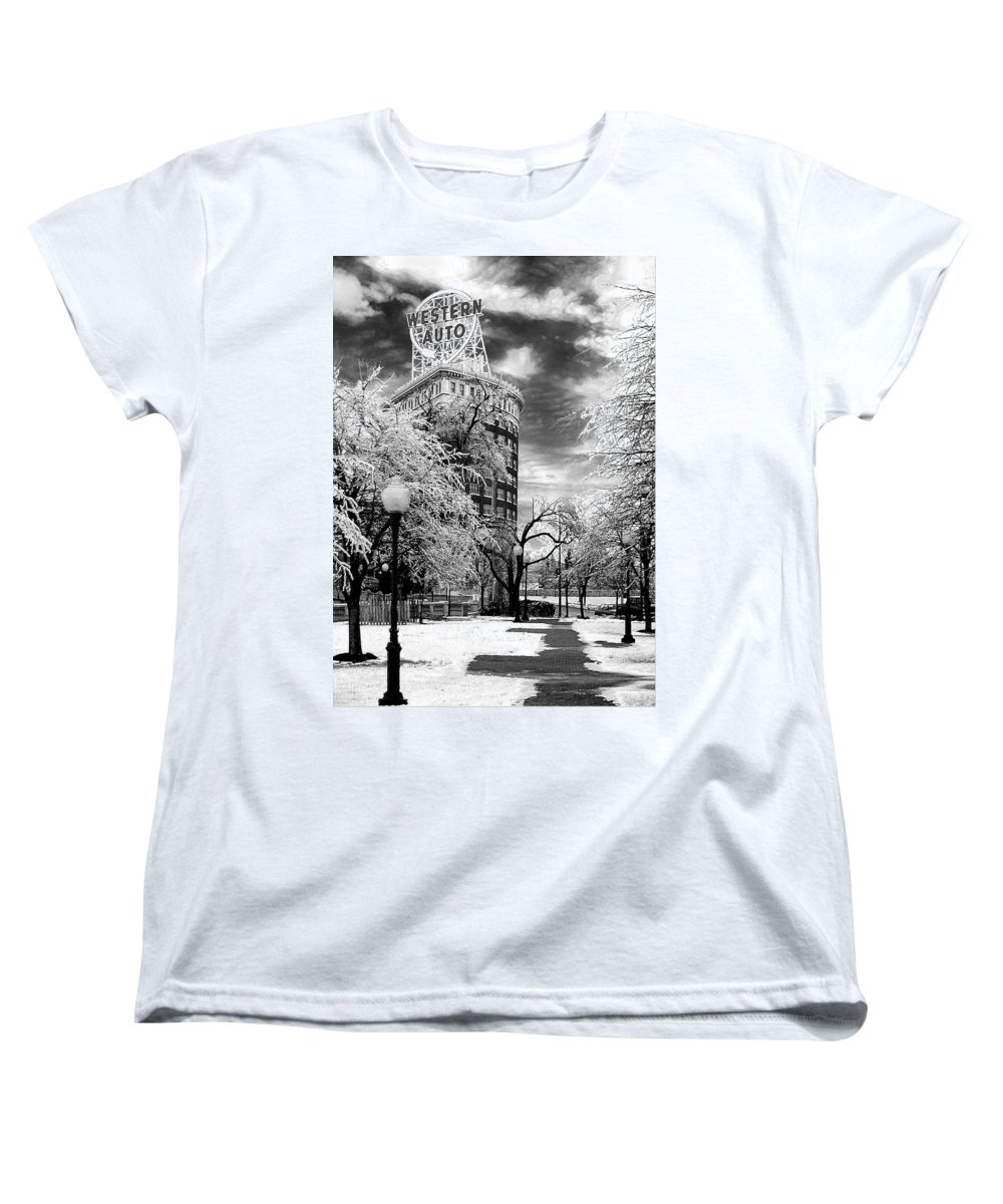 Western Auto Kansas City Women's T-Shirt (Standard Cut) featuring the photograph Western Auto In Winter by Steve Karol