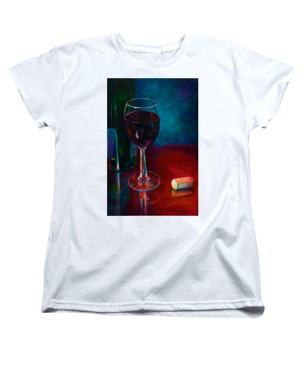 Wine Bottle Women's T-Shirt (Standard Cut) featuring the painting Zinfandel by Shannon Grissom