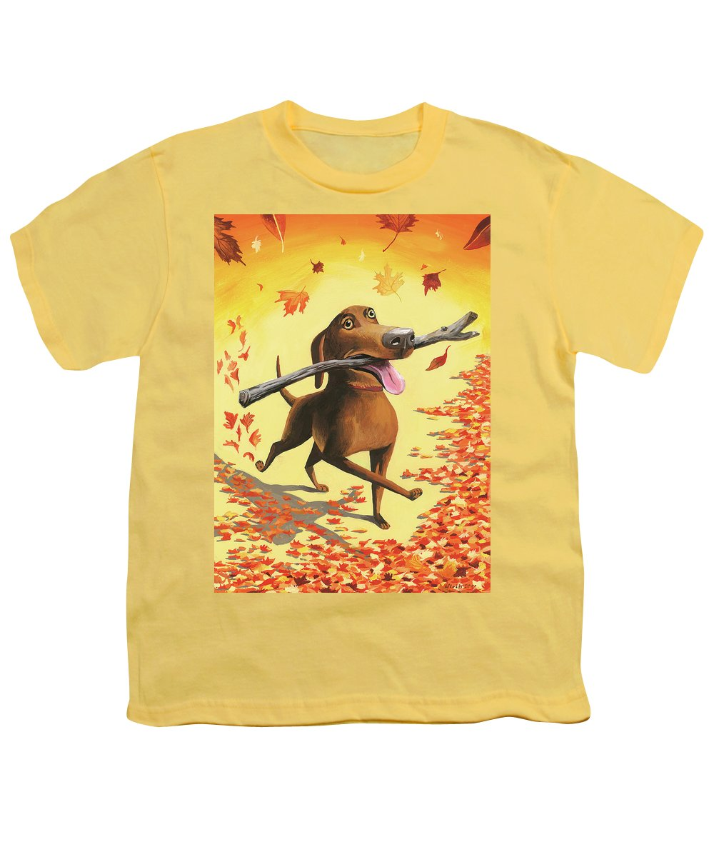Dog Youth T-Shirt featuring the digital art A Dog Carries A Stick Through Fall Leaves by Mark Ulriksen