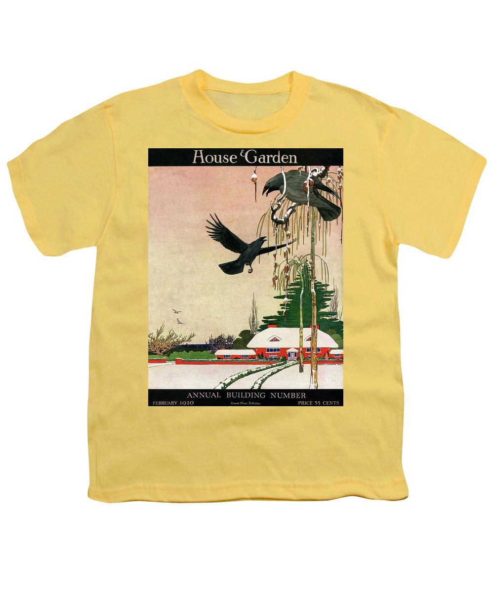 Illustration Youth T-Shirt featuring the photograph A House And Garden Cover Of Crows By A House by Charles Livingston Bull