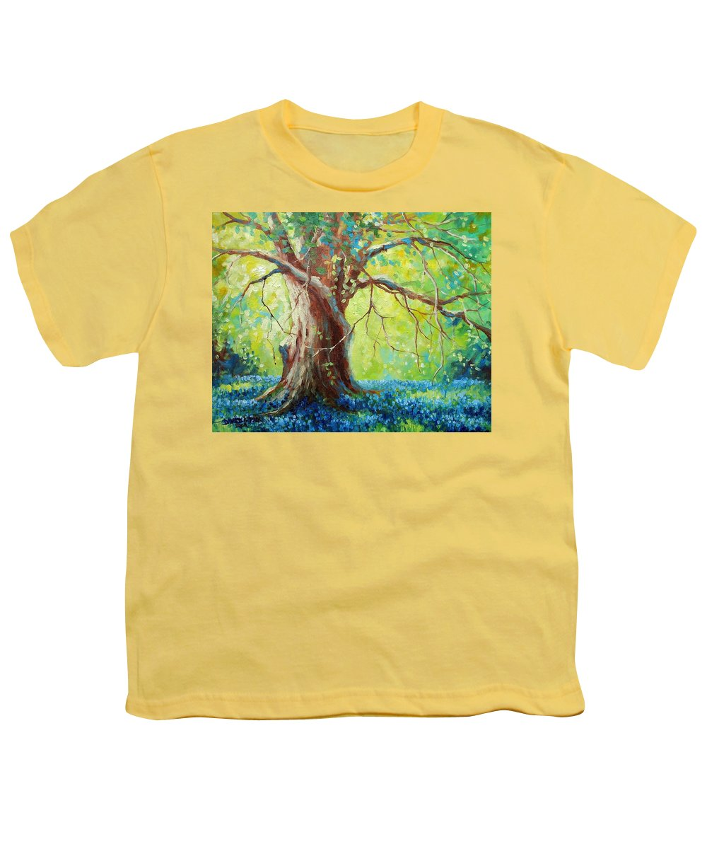 Bluebonnets Youth T-Shirt featuring the painting Bluebonnets Under The Oak by David G Paul