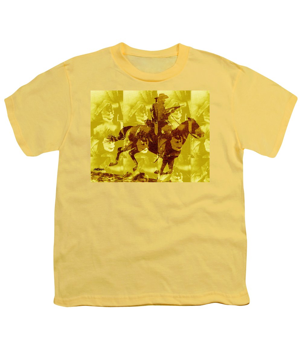 Clint Eastwood Youth T-Shirt featuring the digital art Duel In The Saddle 1 by Seth Weaver