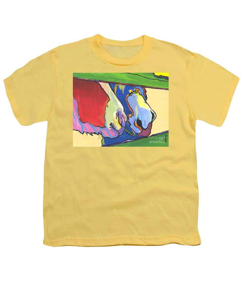 Pat Saunders-white Canvas Prints Youth T-Shirt featuring the painting Green Fence by Pat Saunders-White