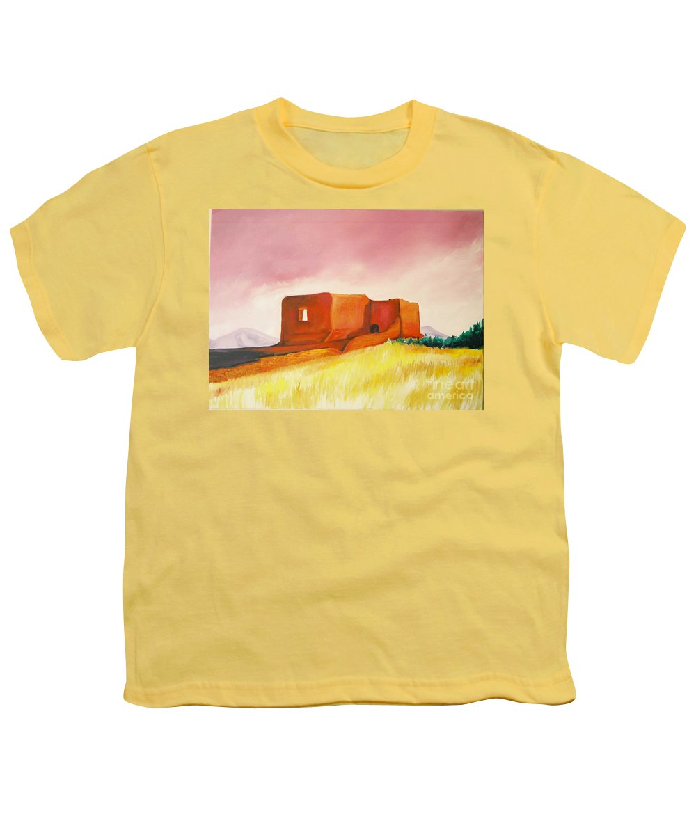 Western Landscapes Youth T-Shirt featuring the painting Pecos Mission Nm by Eric Schiabor