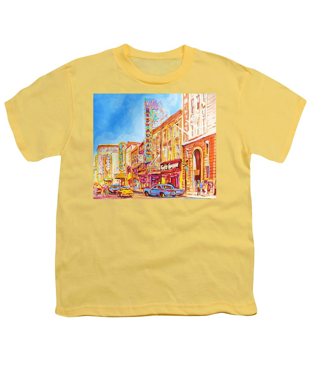 Paintings Of Montreal Youth T-Shirt featuring the painting Saint Catherine Street Montreal by Carole Spandau