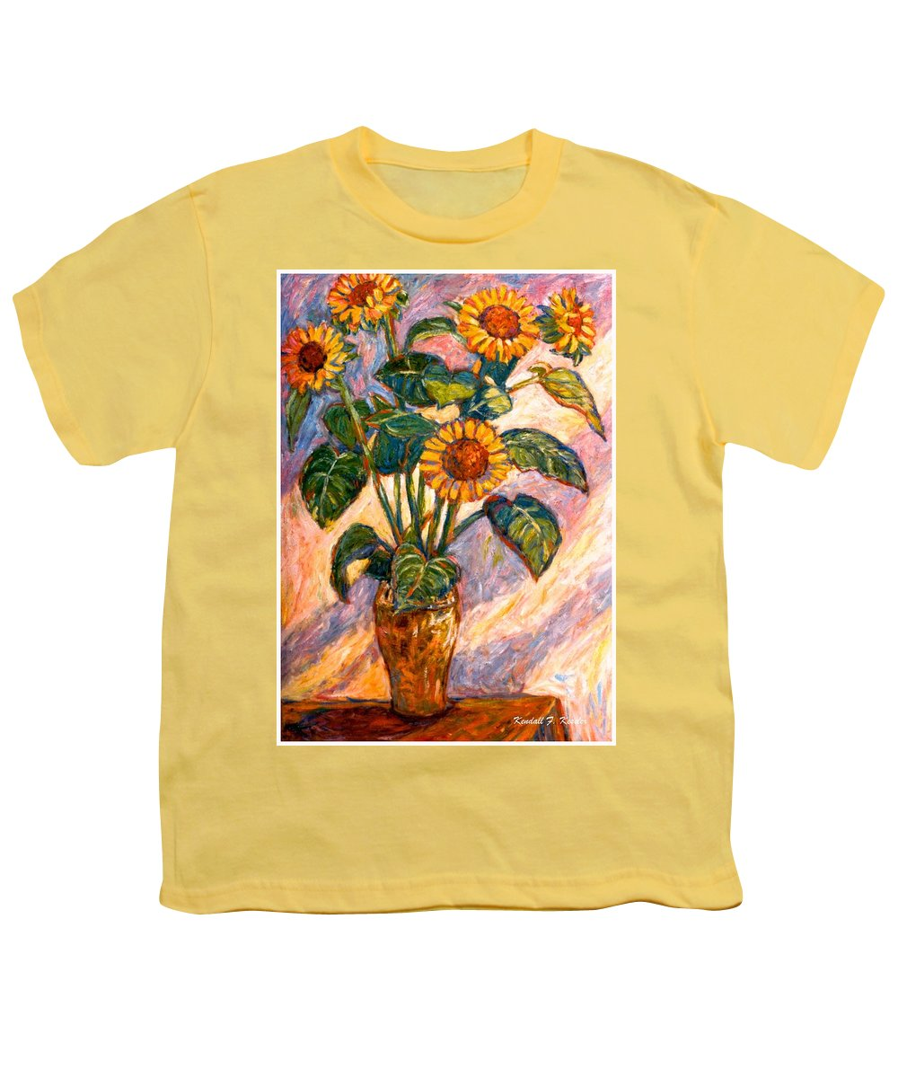 Floral Youth T-Shirt featuring the painting Shadows On Sunflowers by Kendall Kessler