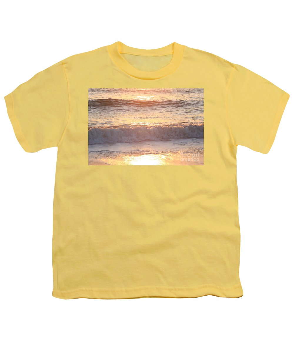 Waves Youth T-Shirt featuring the photograph Sunrise Waves by Nadine Rippelmeyer