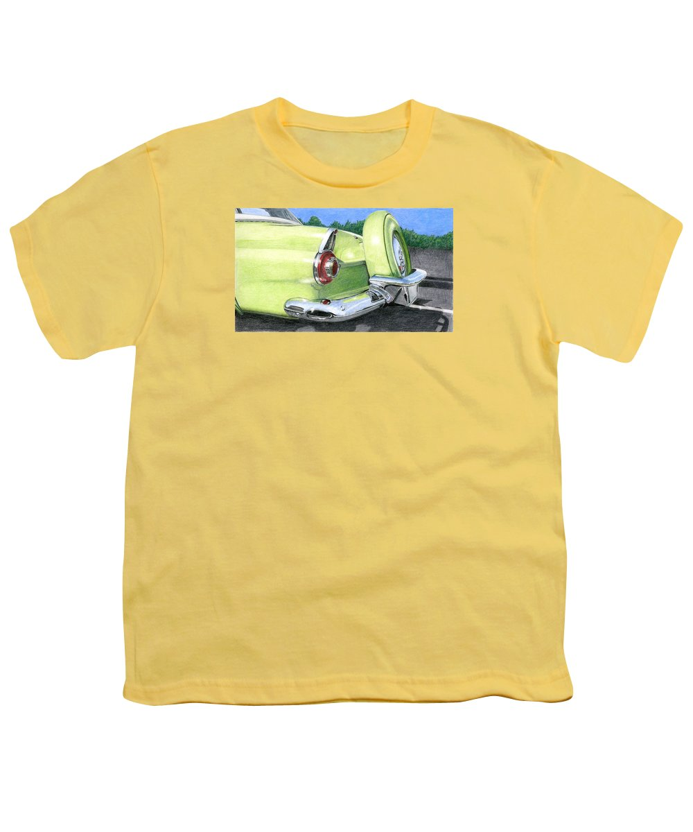 Classic Youth T-Shirt featuring the drawing 1956 Ford Thunderbird by Rob De Vries