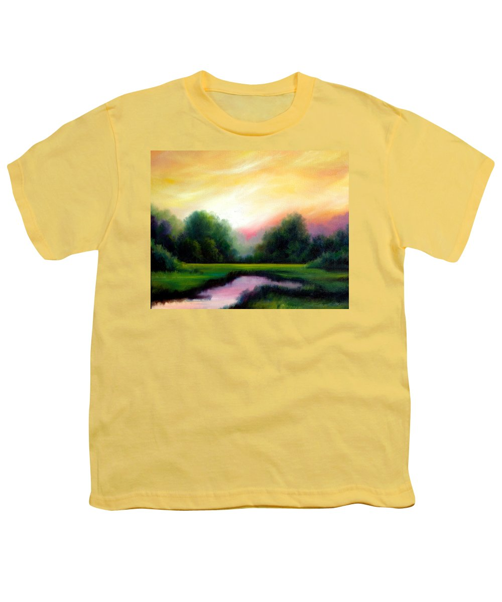 Clouds Youth T-Shirt featuring the painting A Spring Evening by James Christopher Hill