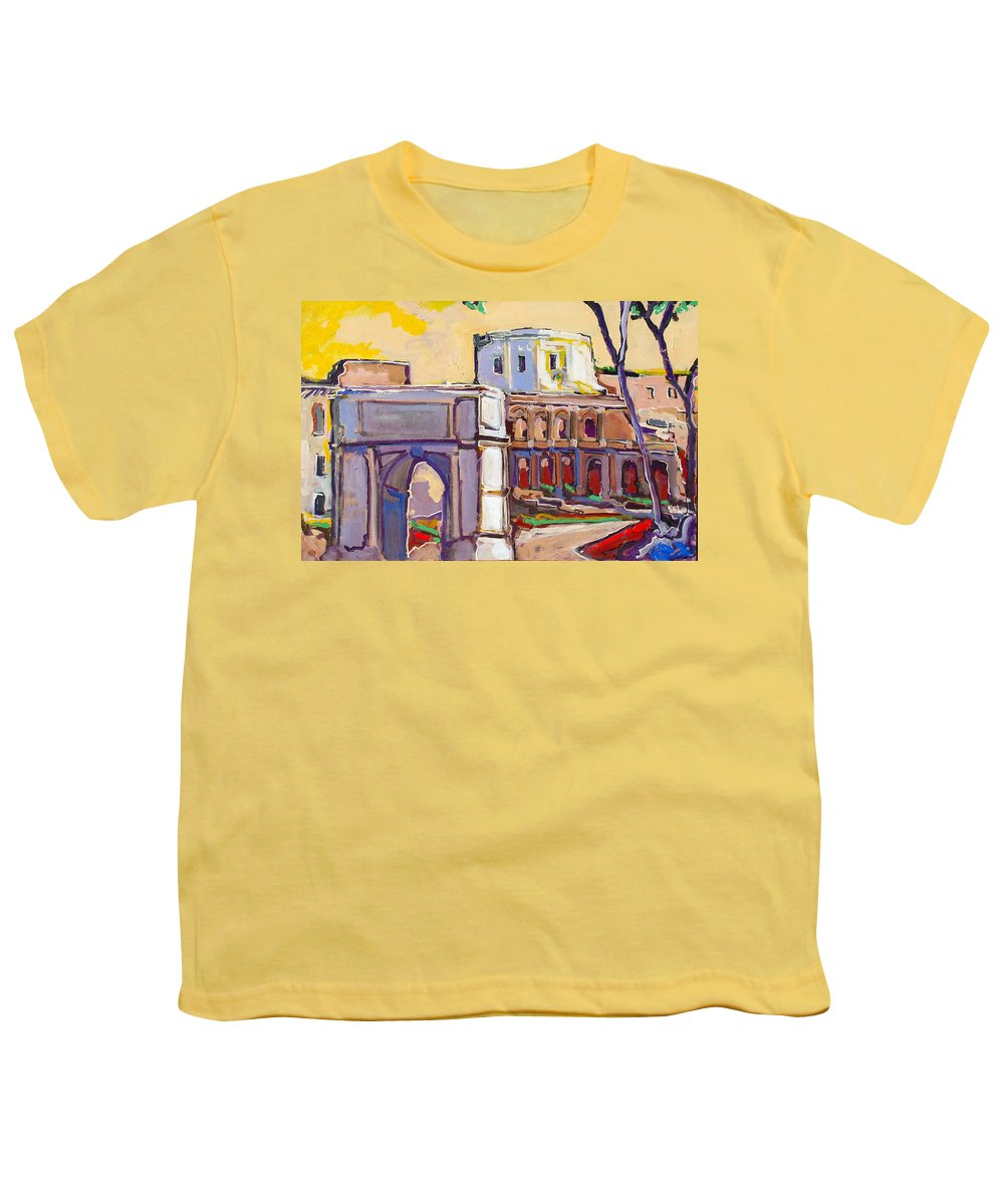 Rome Youth T-Shirt featuring the painting Arco Di Romano by Kurt Hausmann