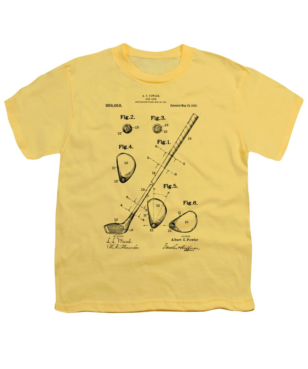 Golf Youth T-Shirt featuring the digital art Vintage 1910 Golf Club Patent Artwork by Nikki Marie Smith