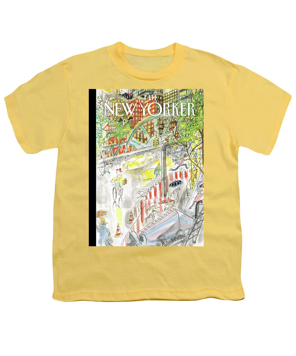 Biking In The Rain Youth T-Shirt featuring the painting Biking in the Rain by Jean-Jacques Sempe