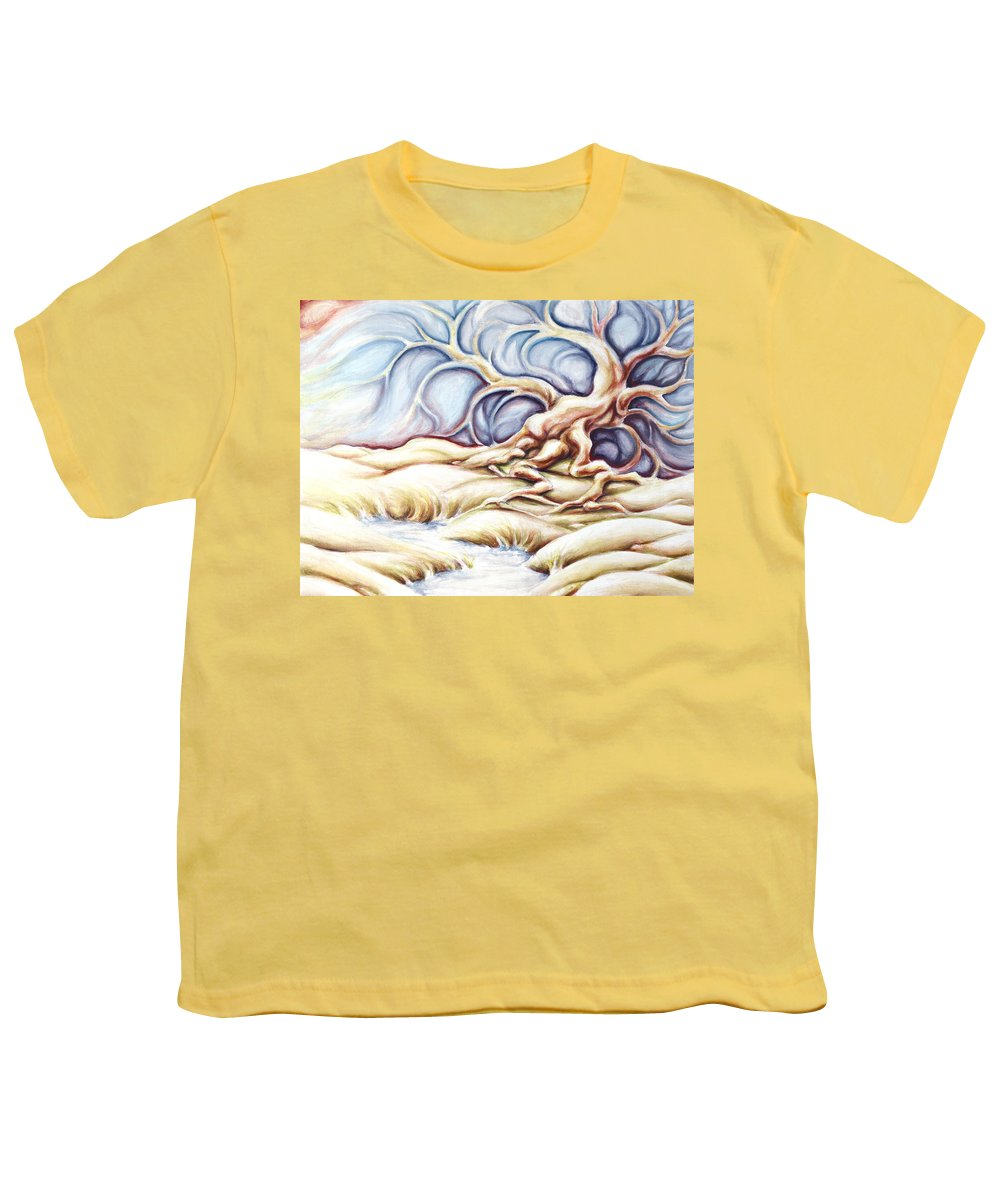 Acrylic Painting Youth T-Shirt featuring the painting Blonde And Blue by Jennifer McDuffie