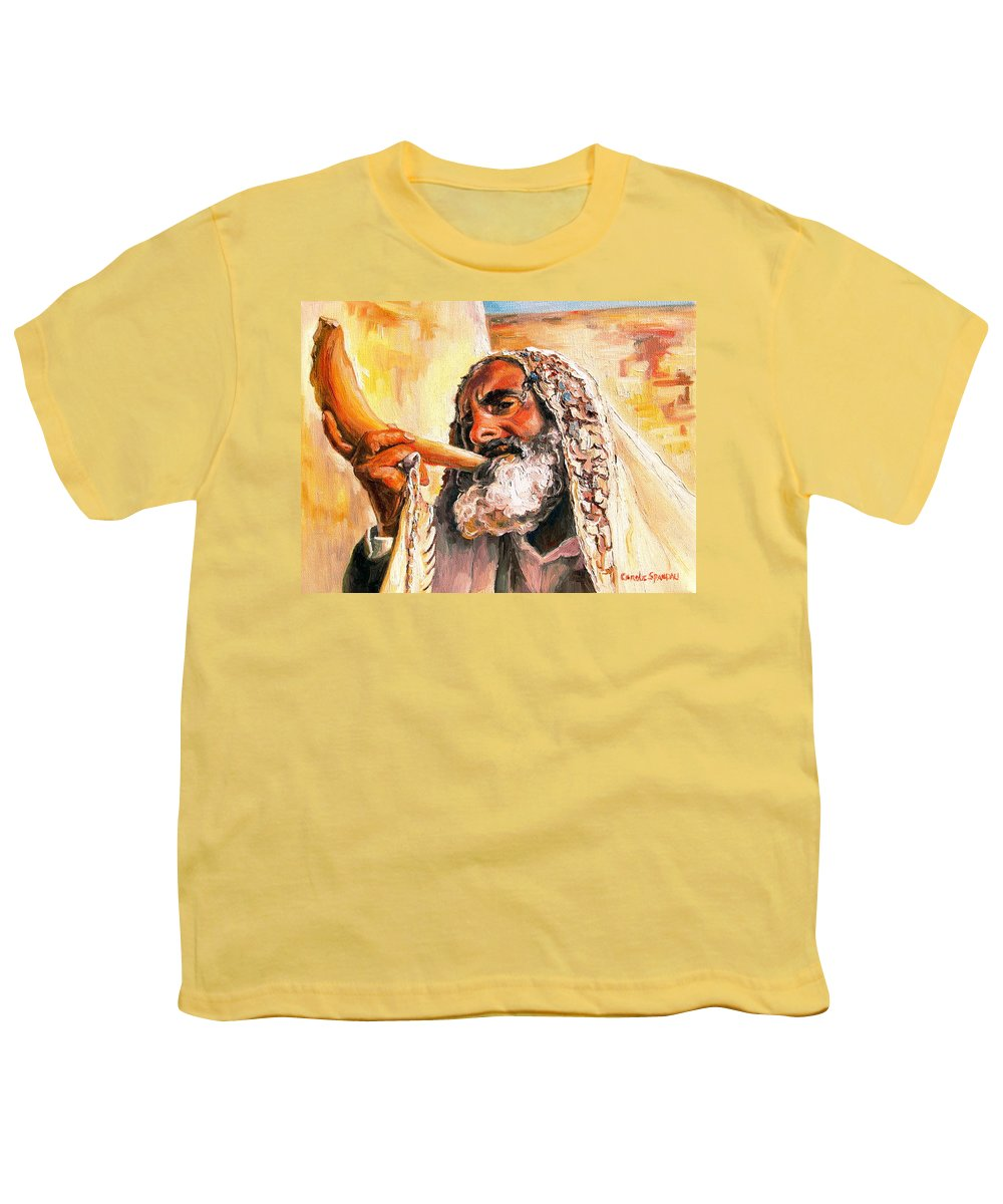 Rabbis Youth T-Shirt featuring the painting Blow The Trumpet In Zion by Carole Spandau