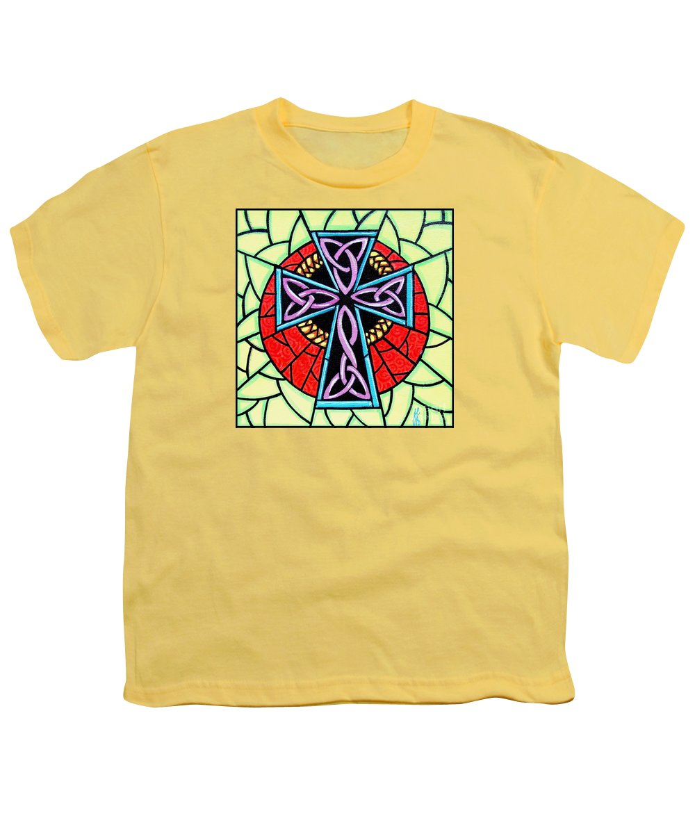 Celtic Youth T-Shirt featuring the painting Celtic Cross by Jim Harris