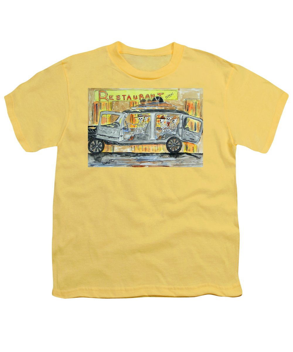 Skeletons Youth T-Shirt featuring the painting Classic Country Music Never Dies by Larry Wright