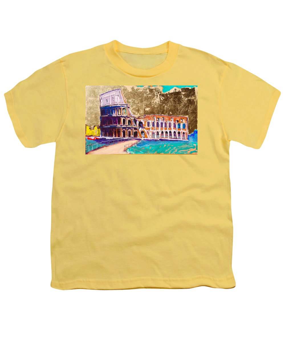 Rome Youth T-Shirt featuring the painting Colosseum by Kurt Hausmann