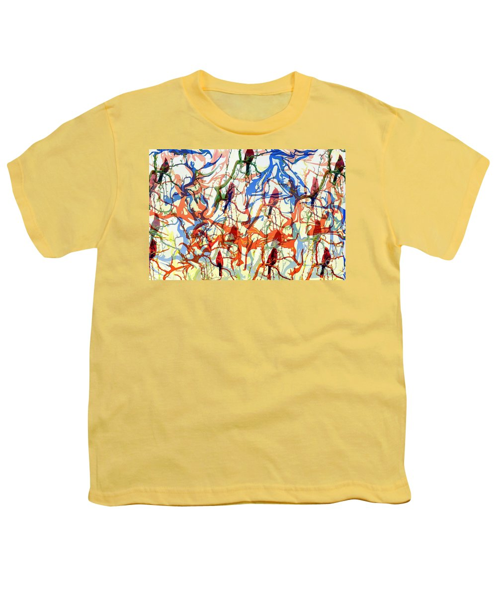 Birds Youth T-Shirt featuring the digital art Crazy Cardinals by Shelley Jones
