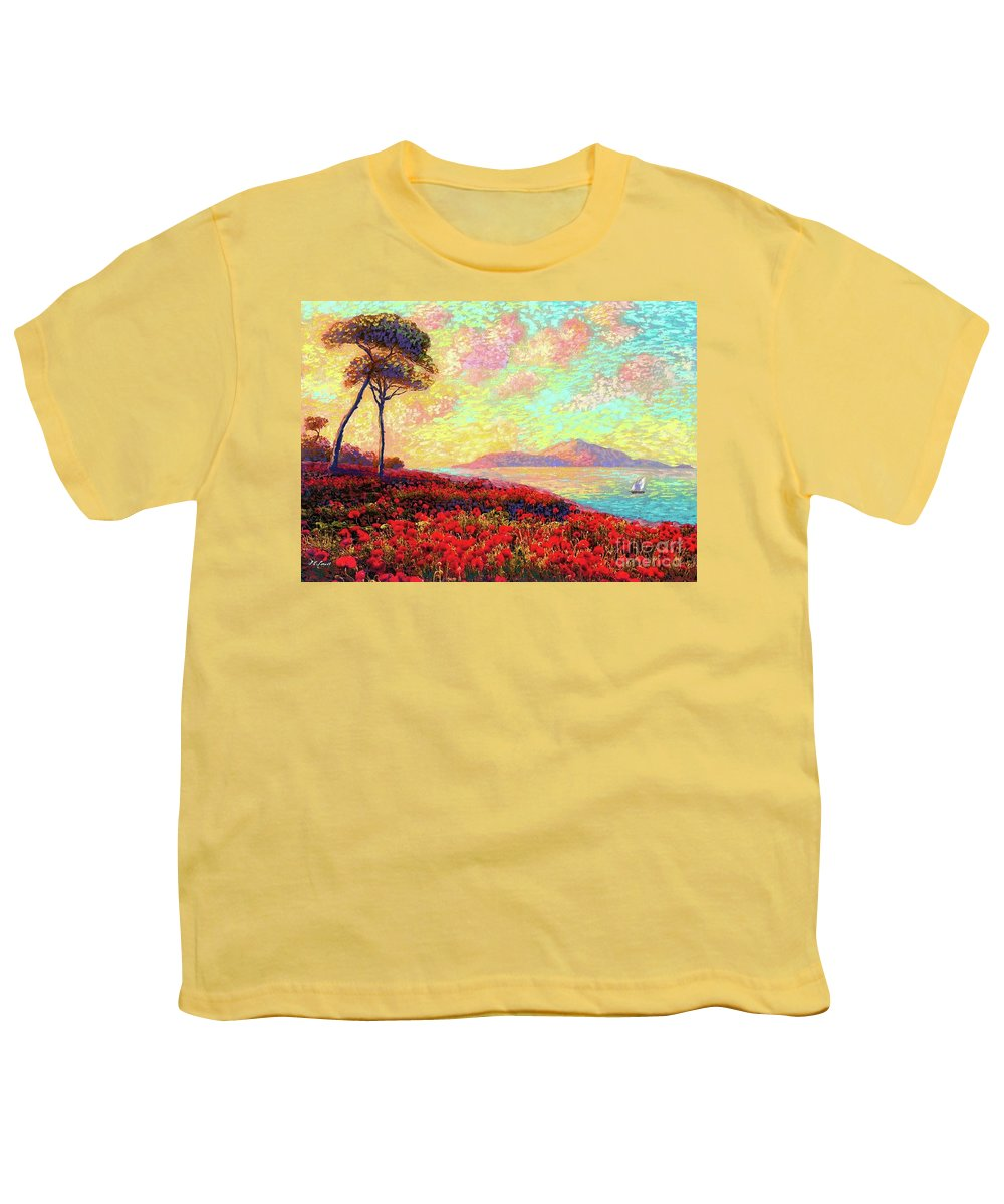 Wildflower Youth T-Shirt featuring the painting Enchanted By Poppies by Jane Small