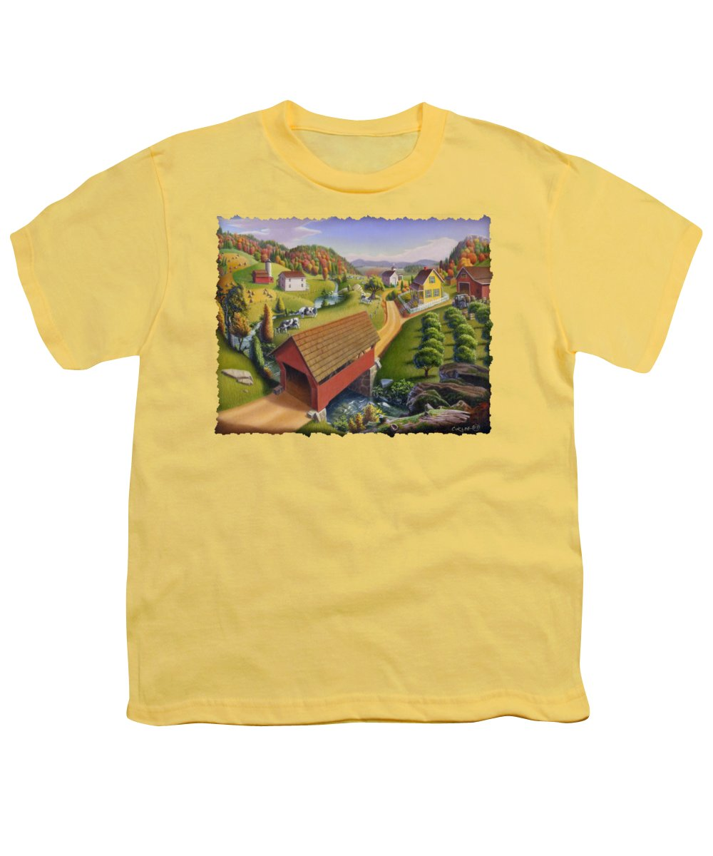 Covered Bridge Youth T-Shirt featuring the painting Folk Art Covered Bridge Appalachian Country Farm Summer Landscape - Appalachia - Rural Americana by Walt Curlee