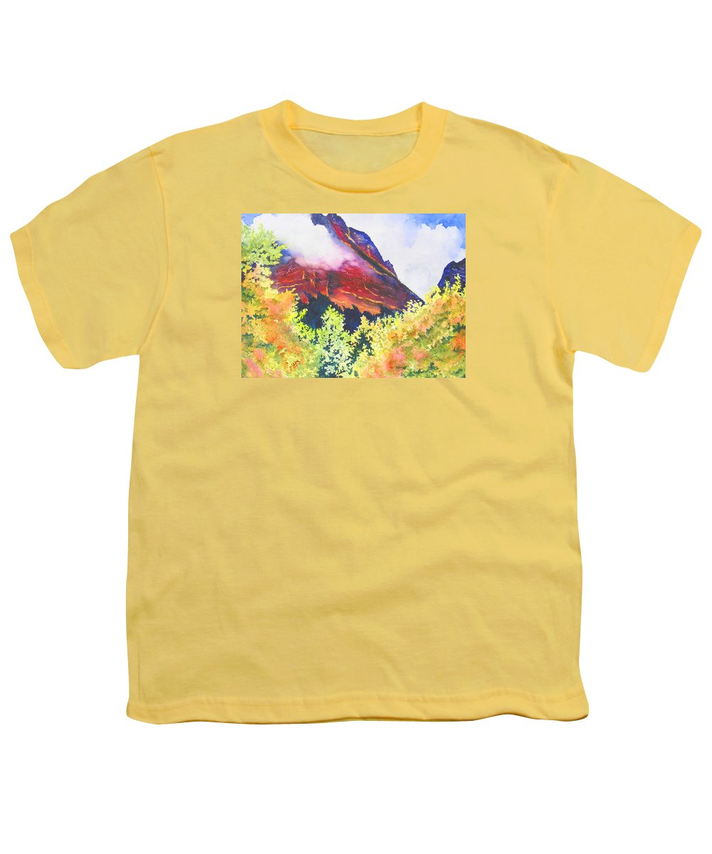 Mountain Youth T-Shirt featuring the painting Heights Of Glacier Park by Karen Stark