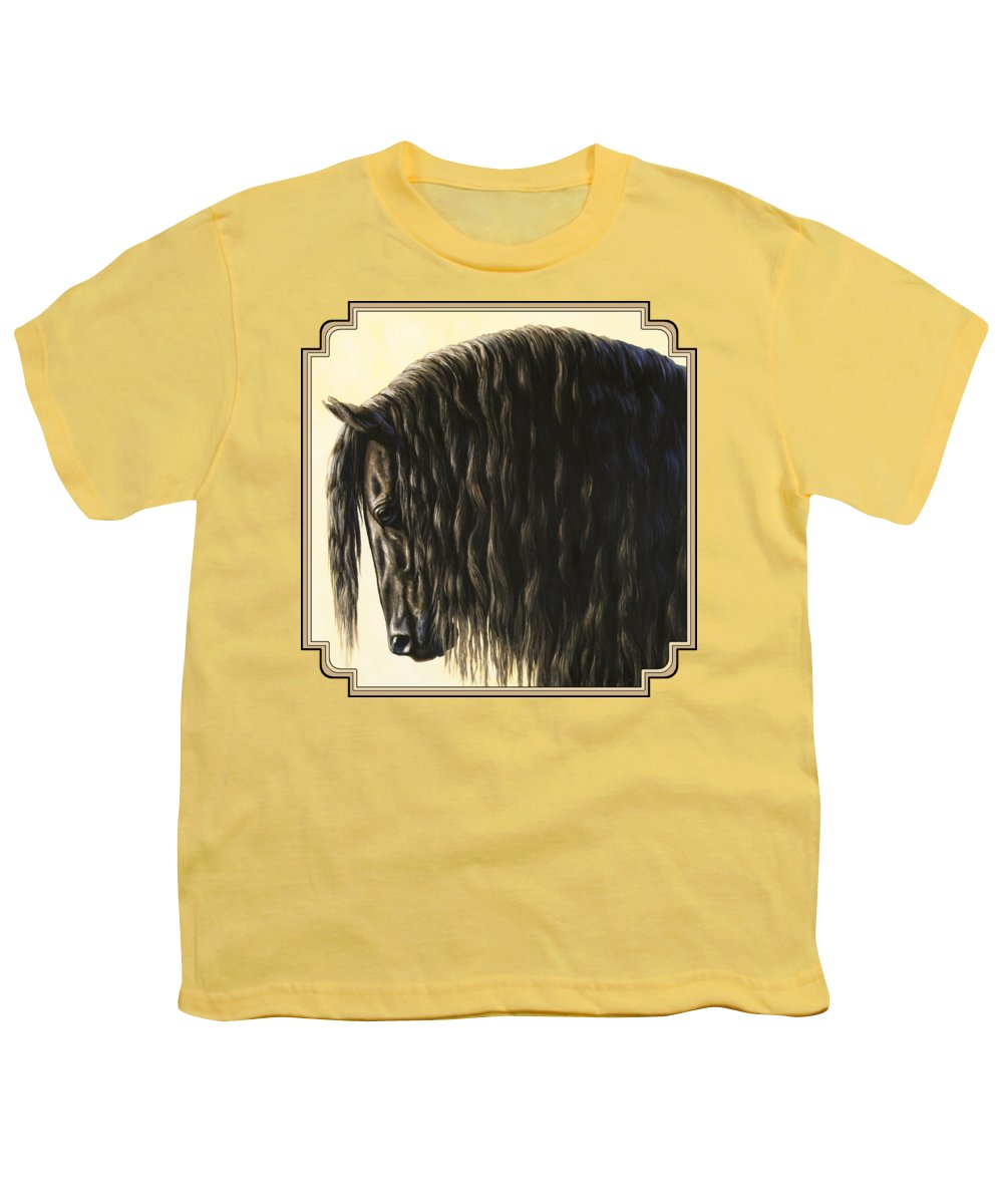 Horse Youth T-Shirt featuring the painting Horse Painting - Friesland Nobility by Crista Forest