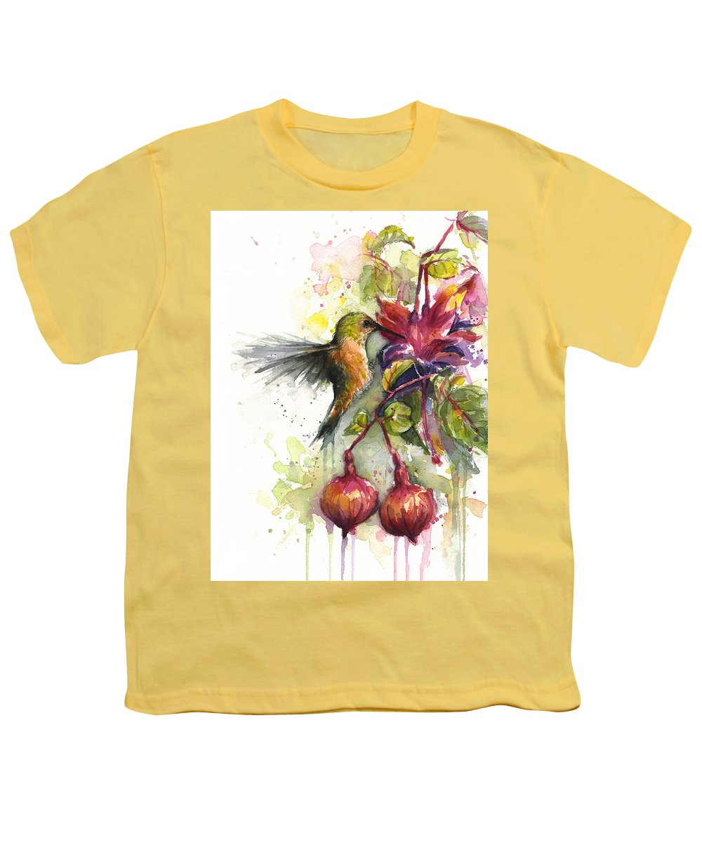 Hummingbird Youth T-Shirt featuring the painting Hummingbird and Fuchsia by Olga Shvartsur