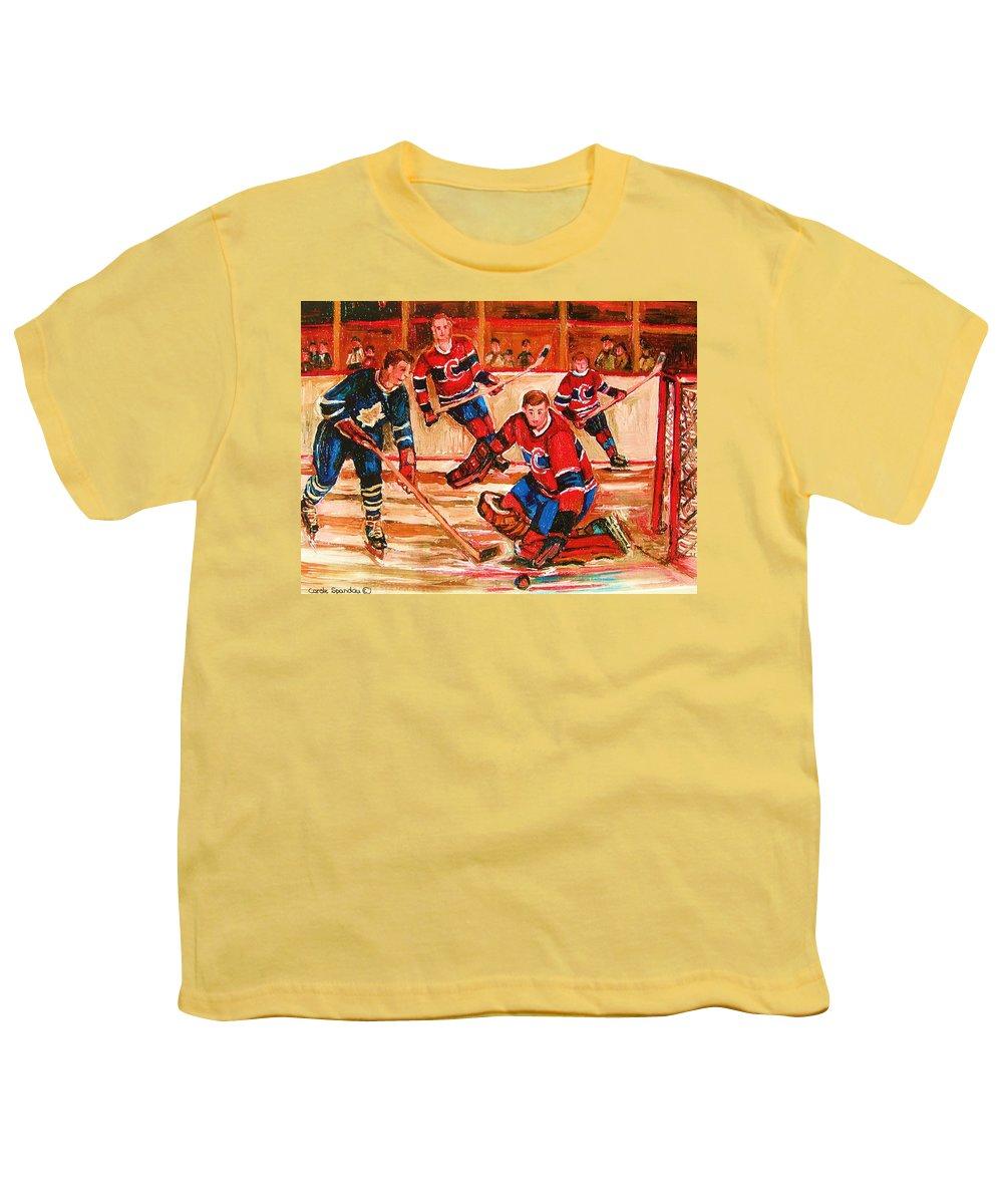 Montreal Forum Hockey Youth T-Shirt featuring the painting Montreal Forum Hockey Game by Carole Spandau