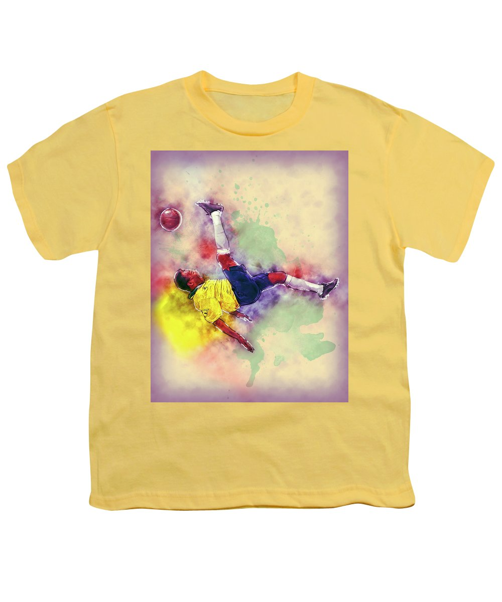 8f3951a12 Pele Football Soccer Painting Youth T-Shirt for Sale by Andres Ramos
