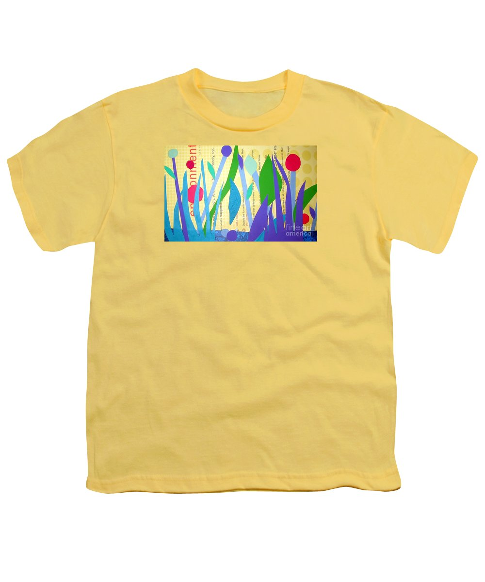 Landscape Youth T-Shirt featuring the mixed media Pond Life by Debra Bretton Robinson